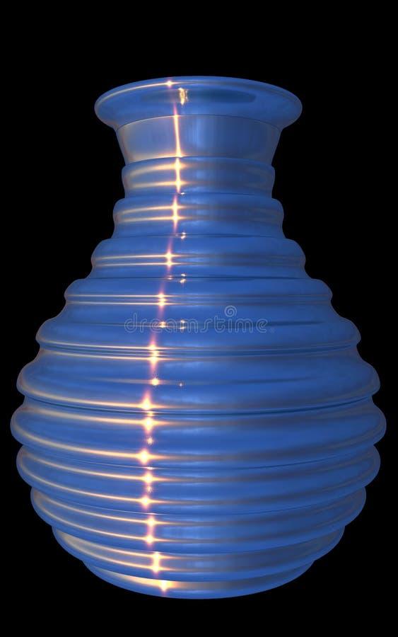 Blue glass rippled vase, isolated, black background. 3D render. vector illustration