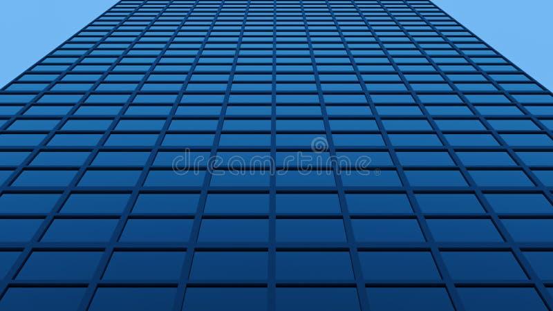 Skyscraper Glass Facade. Blue Glass Skyscraper Facade 3D Render vector illustration