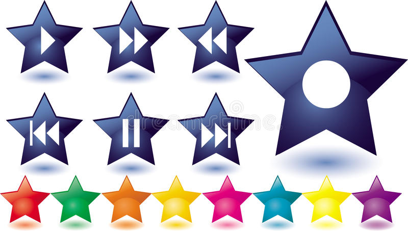 Blue glass stars as music buttons stock illustration