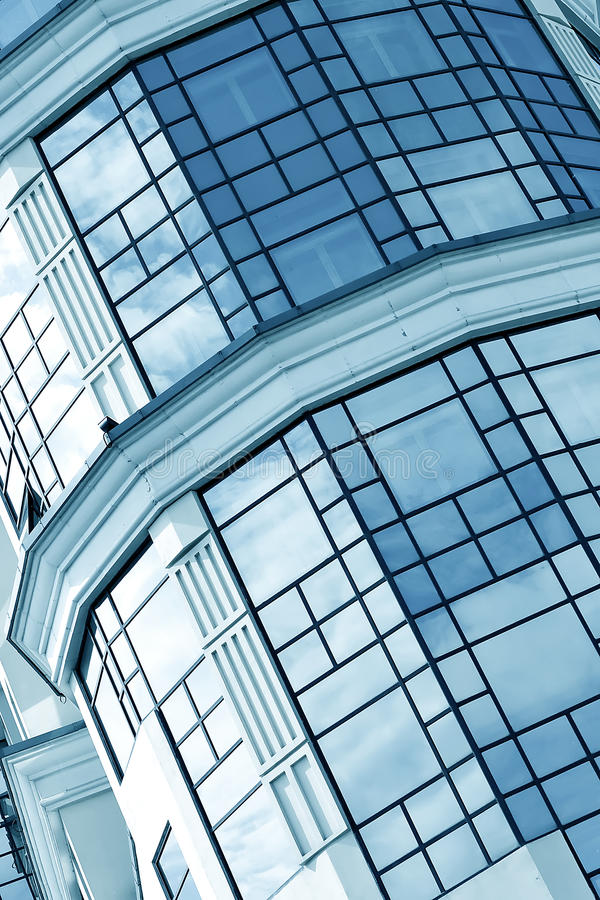 Blue glass transparent wall royalty free stock photography