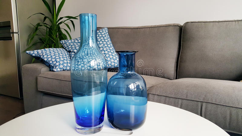 blue glass vases royalty free stock photo