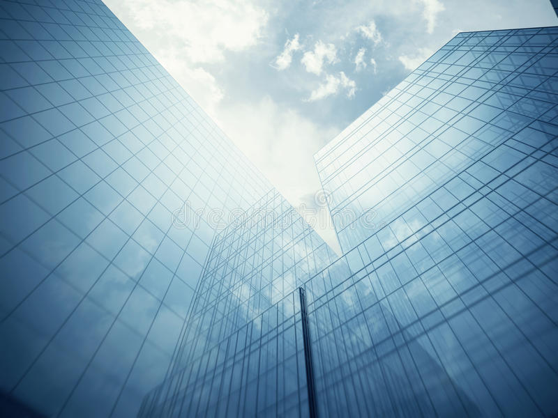 Blue glass wall of skyscraper. Blue clean glass wall of modern skyscraper royalty free stock photos