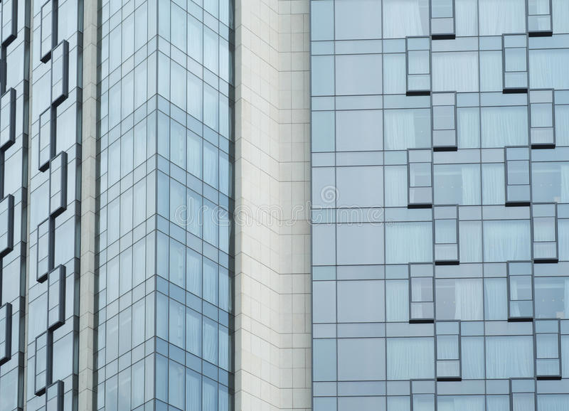 Blue Glass Walls Of Modern Hotel Architecture Royalty Free Stock Photos