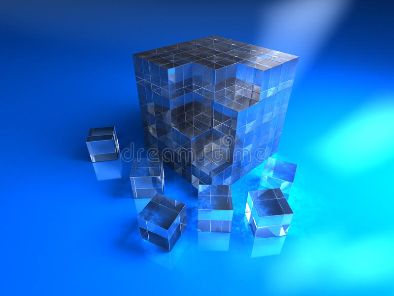 Blue glassy cube royalty free illustration