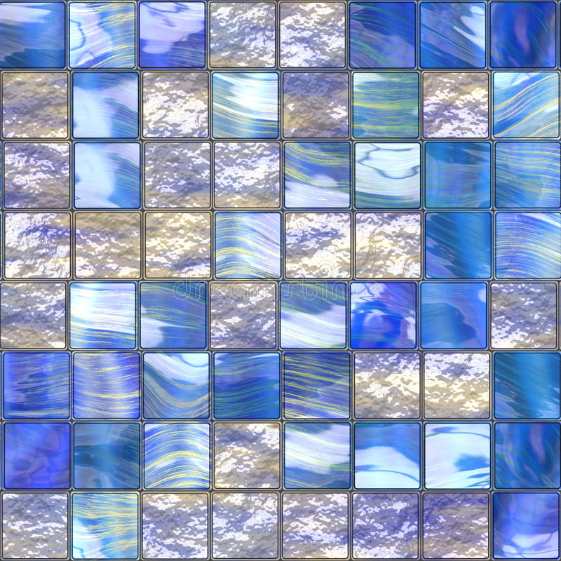 Blue glassy tiles. Background that tiles seamless in all directions stock illustration