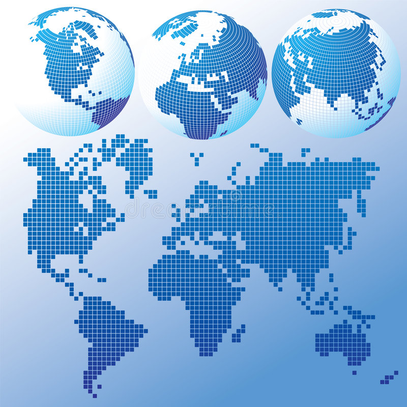 Blue global Set with a map. Raster version of vector blue global Set with a map There is in addition a vector format (EPS 8 vector illustration