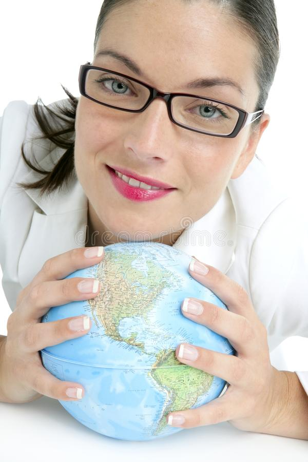 Blue global world map in businesswoman hands. Blue global world map sphere in businesswoman hands over white stock image