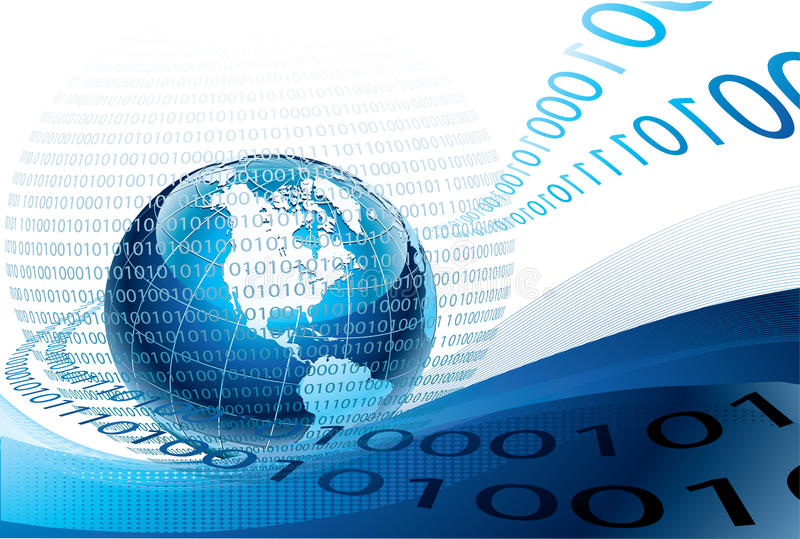 Blue globe and binary code. Abstract illustration of binary code flow around the world-globe stock illustration