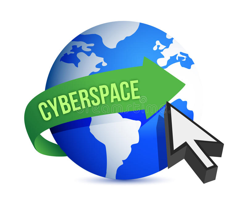 Blue globe and cursor cyberspace concept royalty free illustration