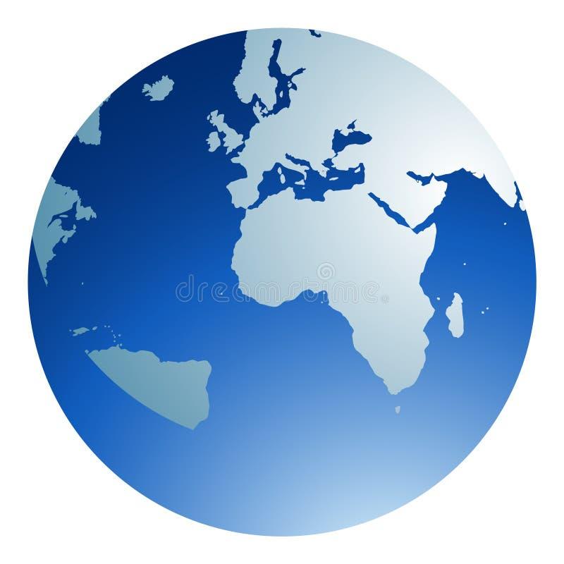 Blue Globe. Blue glossy globe white background
