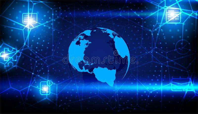Blue globe with light connection lines with various icons some Elements of this image furnished by NASA stock illustration