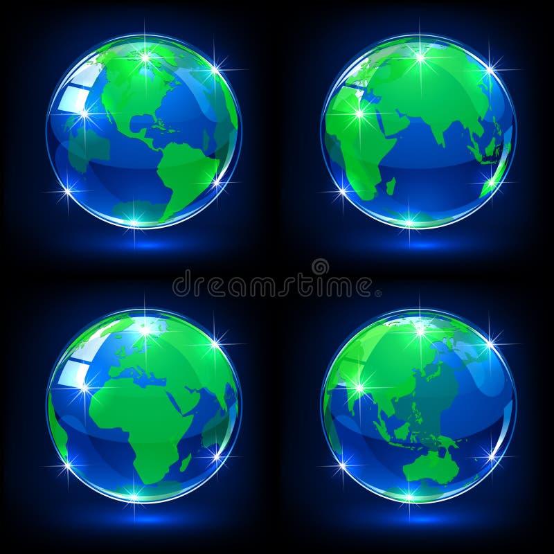 Blue globes. Set of blue globes on dark background, illustration vector illustration