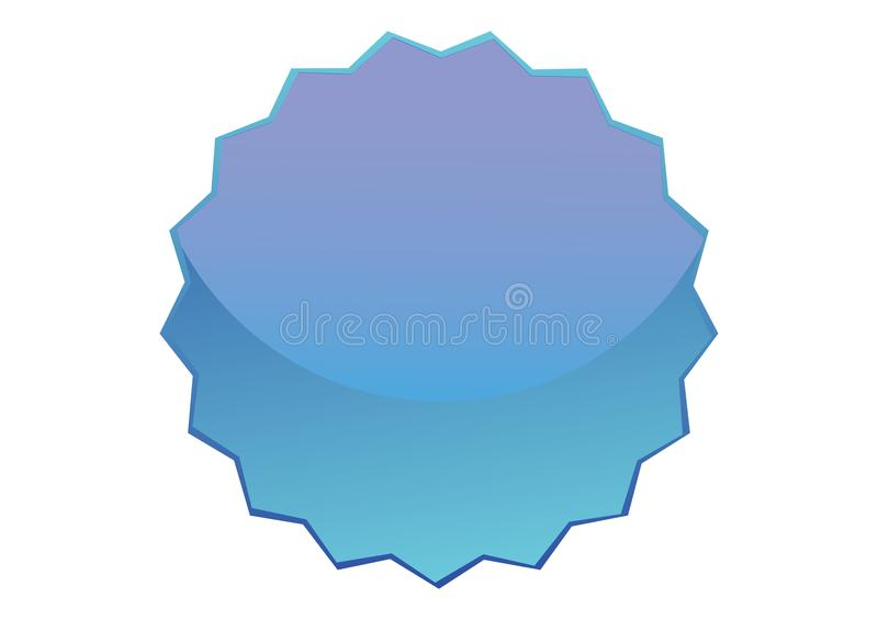 Blue Glossy Button with Serration royalty free stock photo