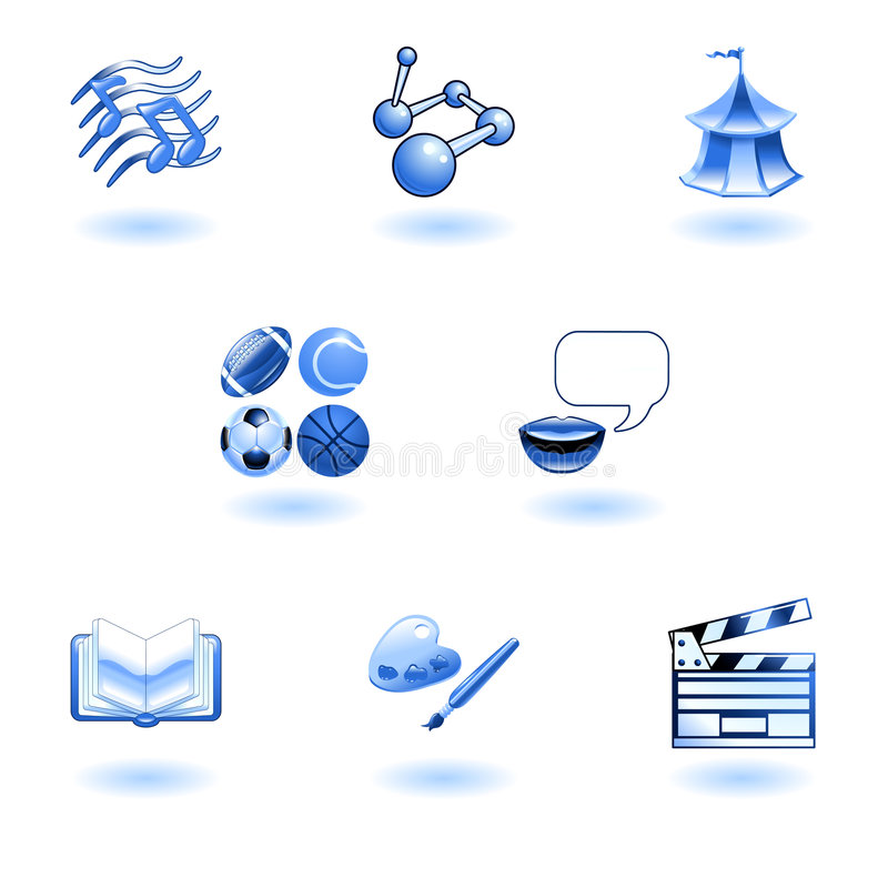 Download Blue Glossy Category Education Web Icons Stock Vector - Illustration: 9275185
