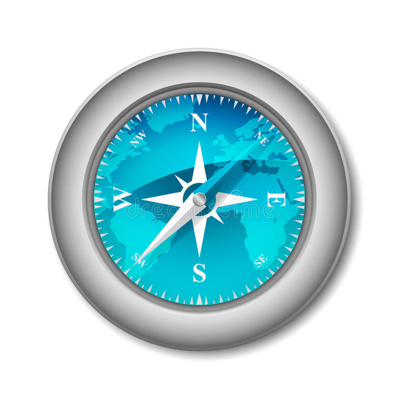 Blue Glossy Compass vector illustration