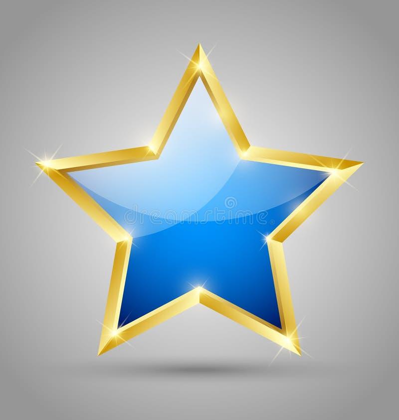 Blue glossy star stock illustration