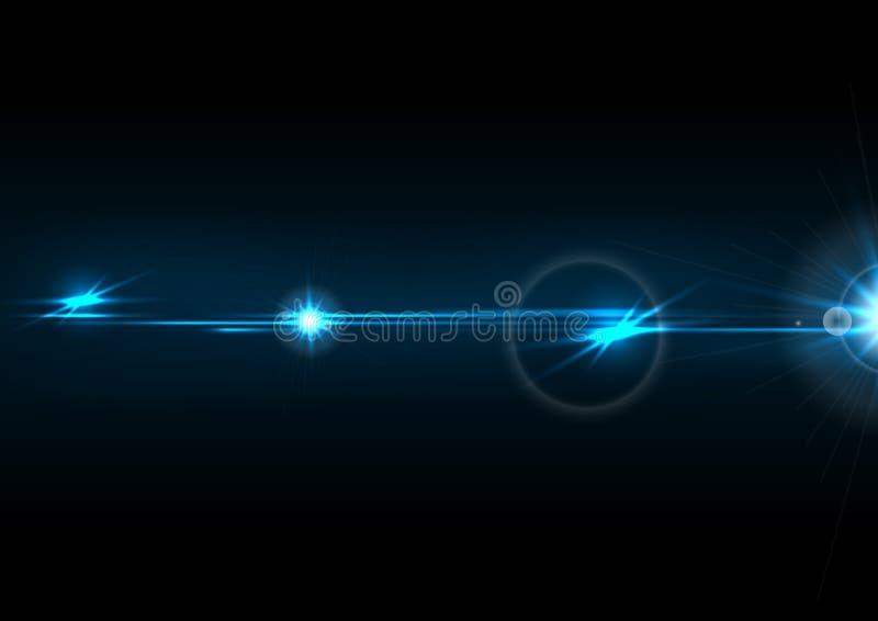 Blue glow lens flare effect vector design. Blue glow lens flare effect abstract background. Vector design royalty free illustration