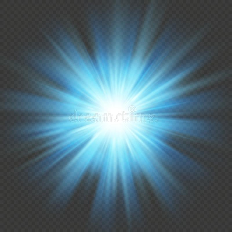 Blue glow star burst flare explosion light effect. Isolated on transparent background. EPS 10 stock illustration