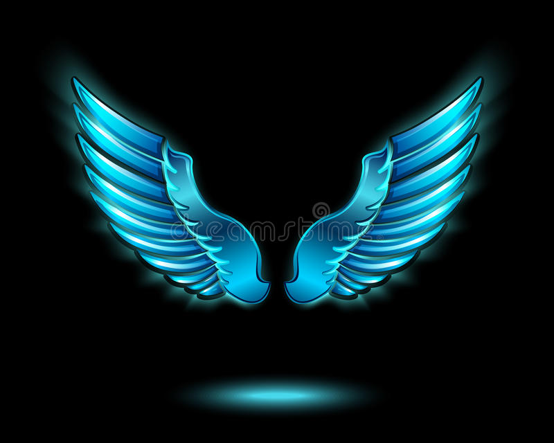 Blue glowing angel wings. With metal shine and shadow symbol vector illustration vector illustration