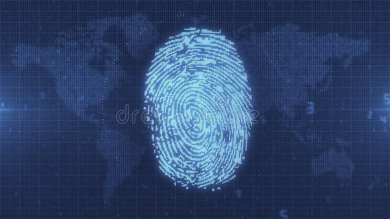 Blue glowing fingerprint electronic ID on Earth map background. Pixelated computer scan of fingerprint ID on numerical data map of the world with HUD elements vector illustration