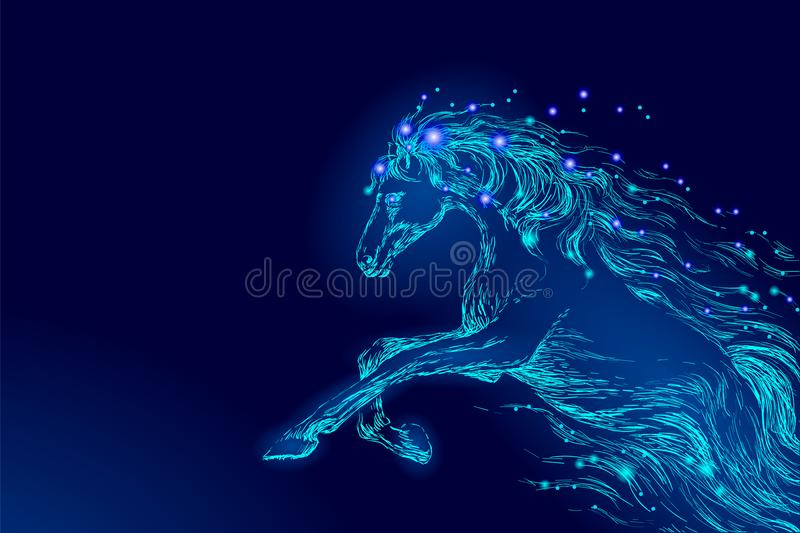 Blue glowing horse riding night sky star. Creative decoration magical backdrop shining cosmos space moon light fantasy royalty free illustration