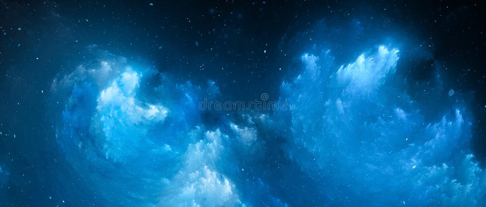Blue glowing nebula fractal widescreen background stock illustration
