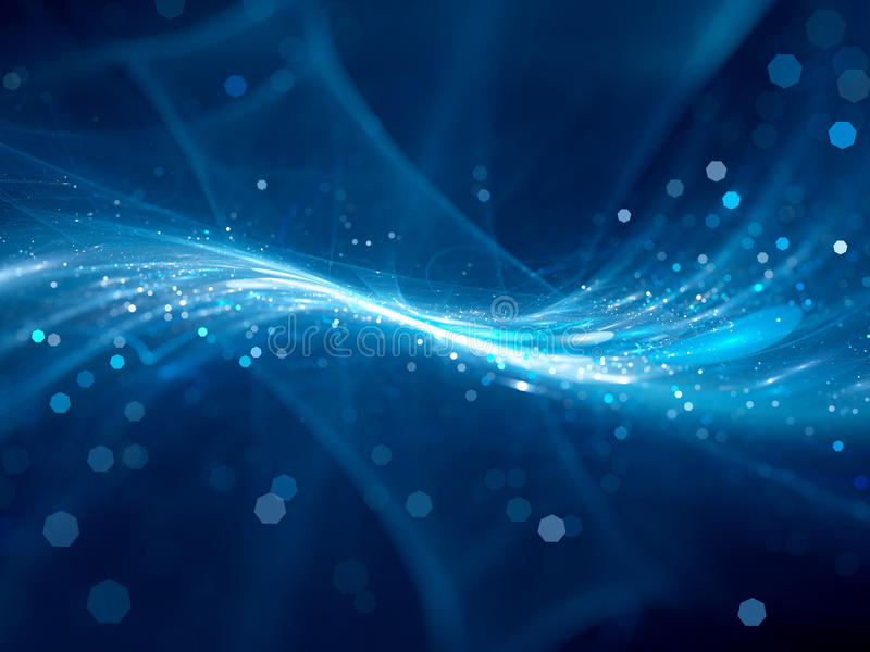 Blue glowing new technology flow in space. Computer generated abstract background royalty free illustration