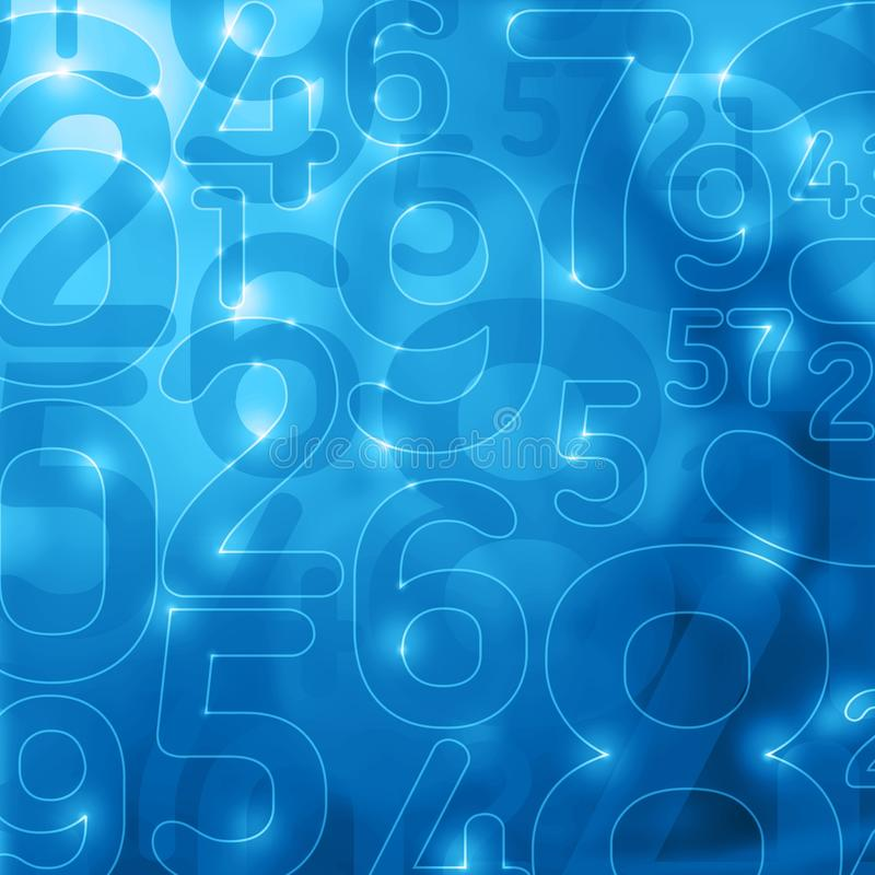 Blue glowing numbers abstract encryption background stock illustration