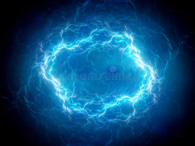 Blue glowing spherical high energy plasma lightning in space vector illustration