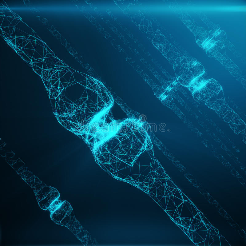 Blue glowing synapse. Artificial neuron in concept of artificial intelligence. Synaptic transmission lines of pulses. Abstract polygonal space low poly with stock photos