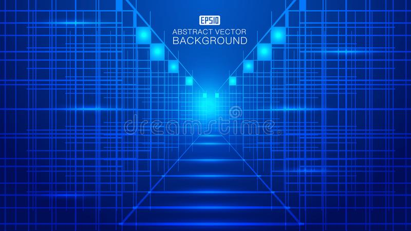 Blue glowing tech composition consisting of rays, lines Abstract vector background.  royalty free illustration