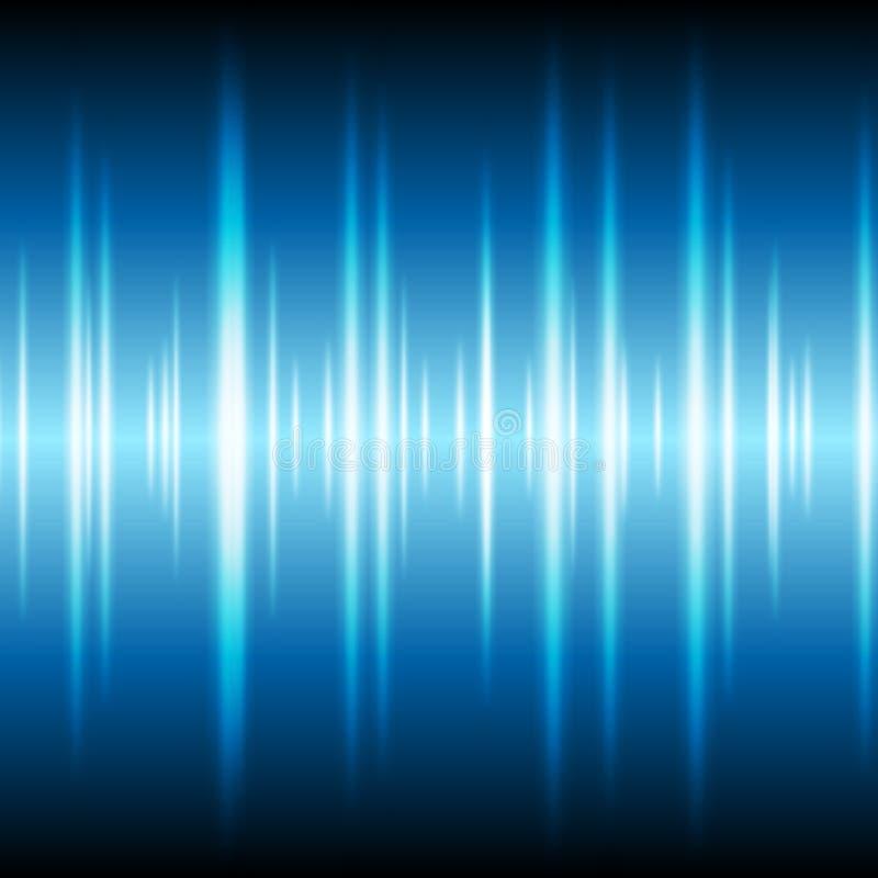 Blue glowing tech waveform equalizer background stock illustration