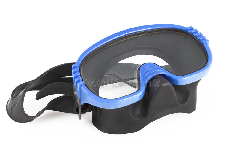 Blue goggles. Blue diving mask isolated on white background royalty free stock image