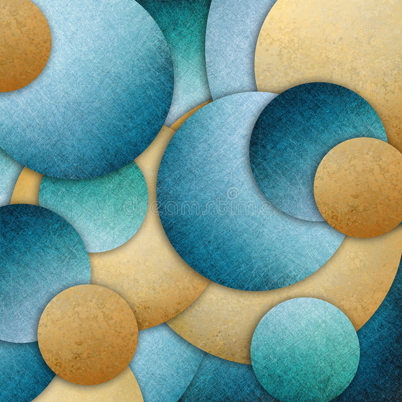Blue gold abstract background design of layers of round circle shapes in random pattern stock images