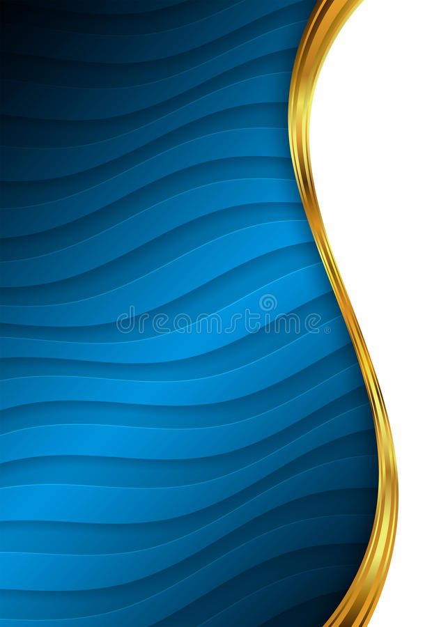 Blue and gold abstract background template for website, banner, business card, invitation vector illustration