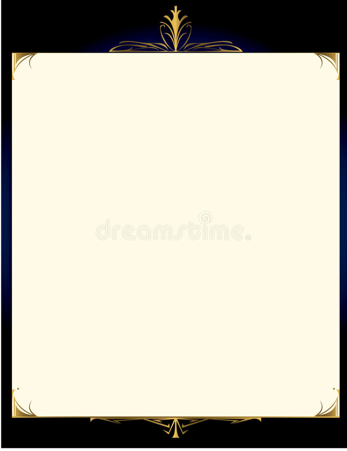 Blue gold background with frame 1 stock illustration