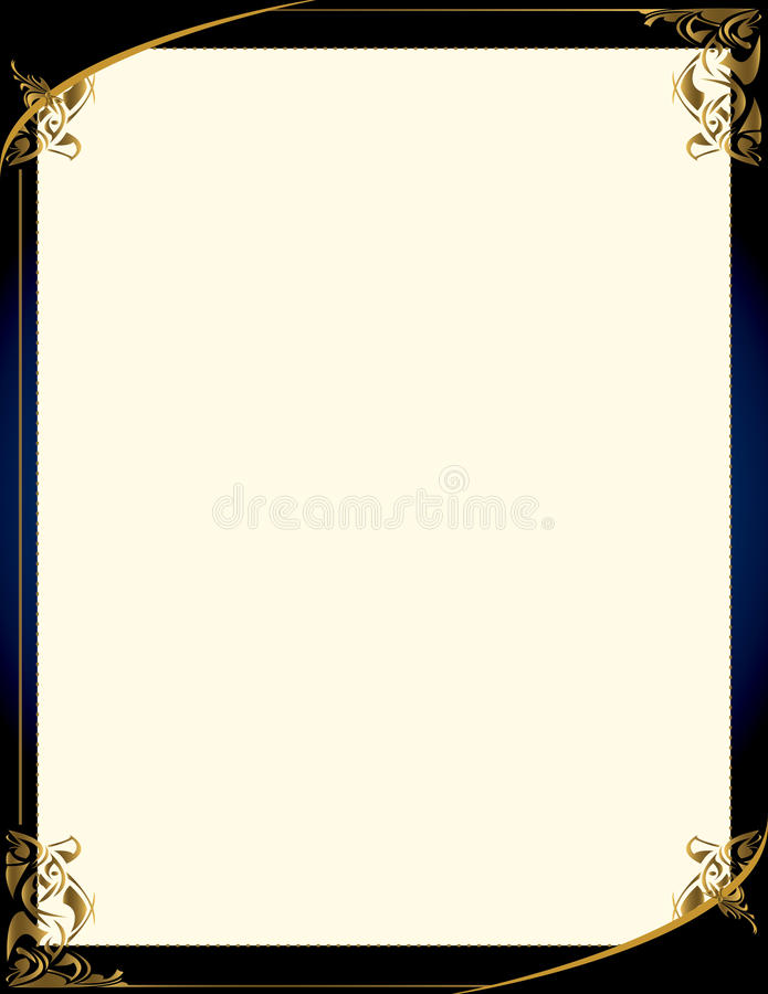 Blue gold background with frame royalty free illustration