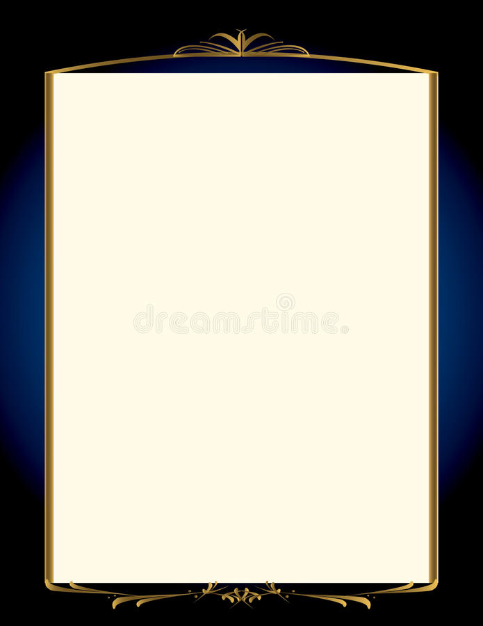 Blue gold background with frame 2 vector illustration