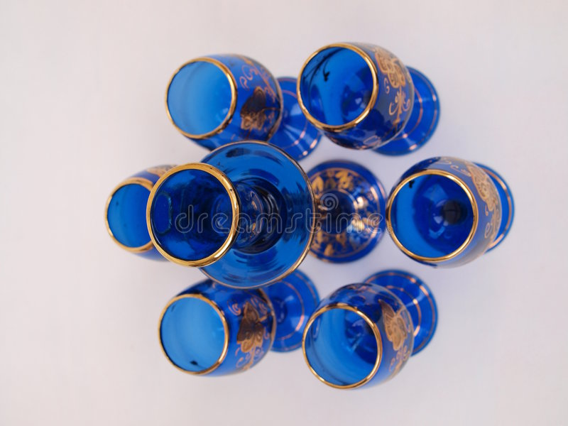 Free Blue Gold Crystal Deco Glass Items Circular Format Royalty Free Stock Image - 8381776