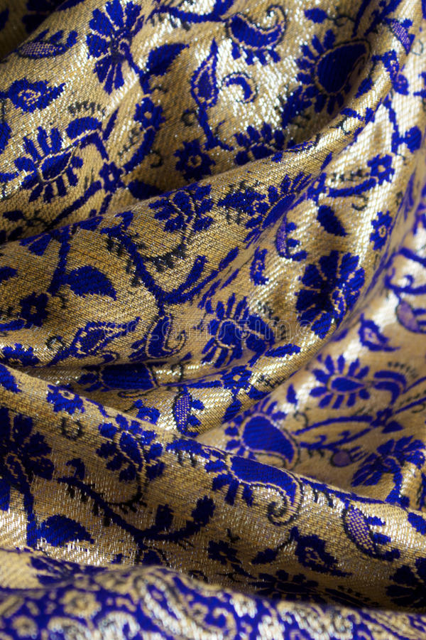 Blue and gold fabric stock photo. Image of shiny, material - 20492424