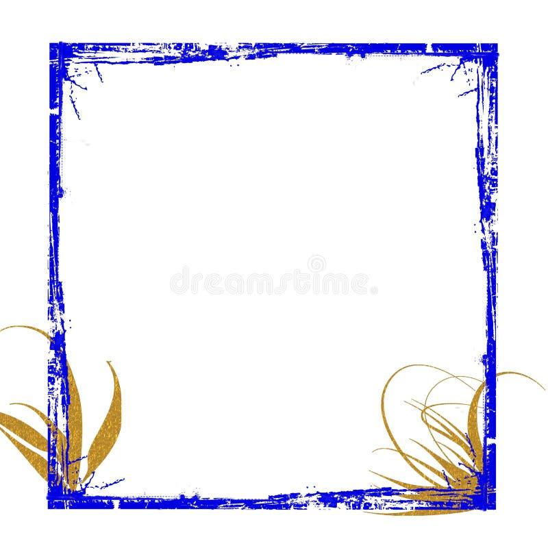 Download Blue gold frame grunge stock illustration. Image of illustration - 12599670