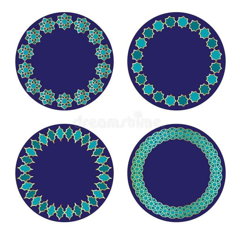 Blue Gold Moroccan Circle Frames Stock Vector - Illustration of ...