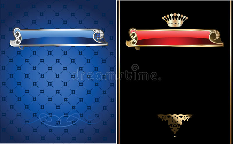Blue And Gold Ornate Banner. stock illustration