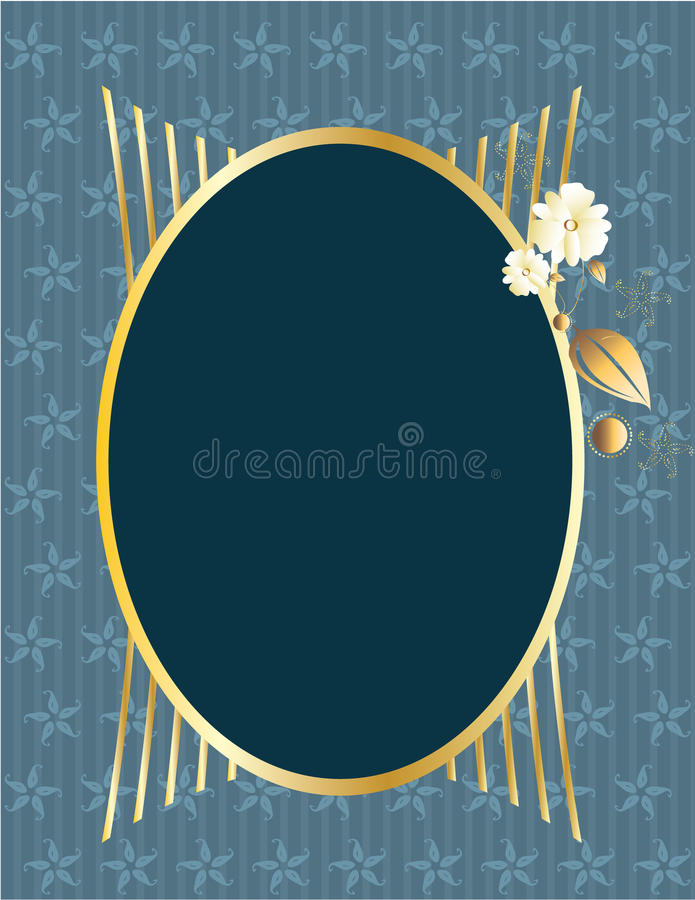 Blue gold oval frame stock illustration