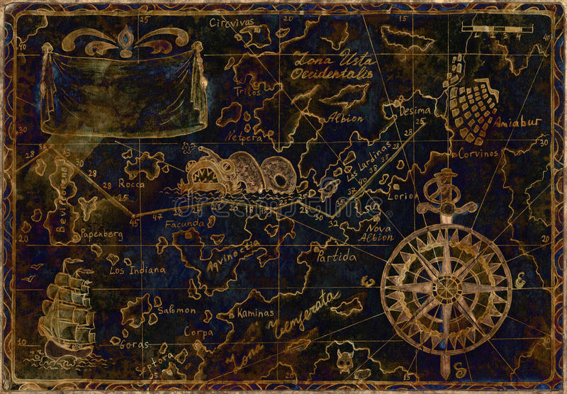 Blue and gold pirate map royalty free illustration