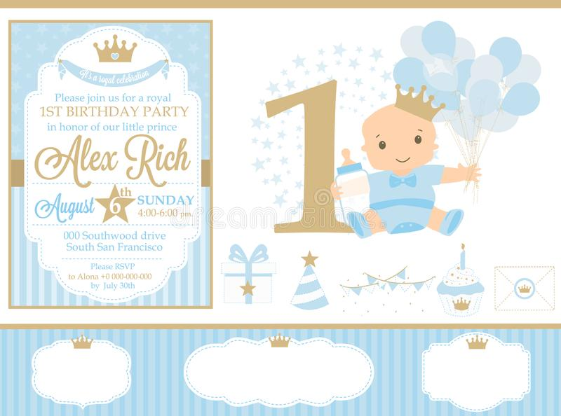 Blue and gold prince party decor. Cute happy birthday card template elements. stock illustration