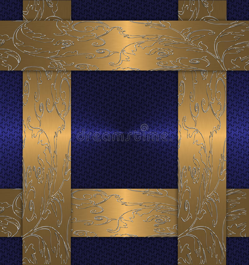 Blue with gold vintage vector illustration