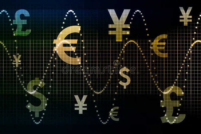 Blue Gold World Currencies Business Abstract Backg. Round Wallpaper royalty free illustration