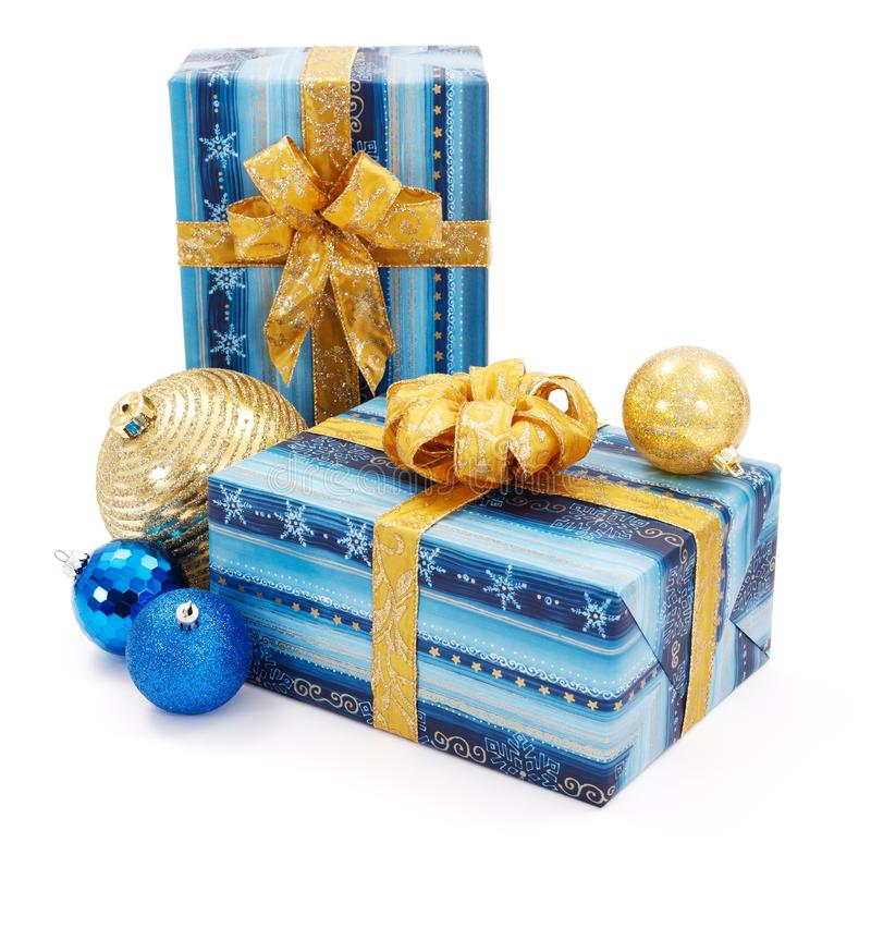 Blue - golden Christams presents and ornaments stock photo