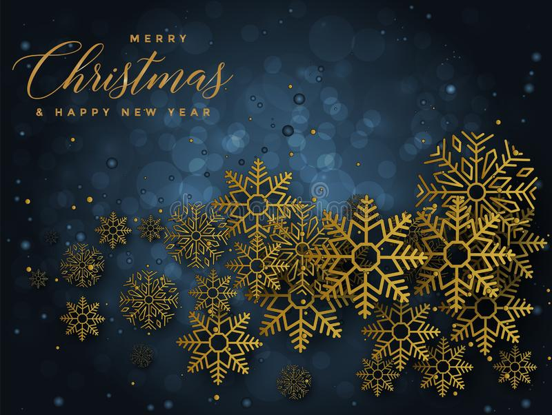 Blue and Golden Christmas background with Text Merry Christmas and Happy new year illustration royalty free illustration